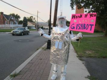 """#92 - IMAGE: Cosplay """"Gishbot"""" (www.twitter.com/gishbot) as realistically as possible in public."""