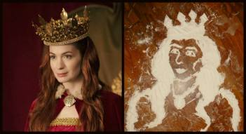 #108 - IMAGE: Let's see a flattering portrait painting of Star Trek's George Takei or Felicia Day. Your materials will be sand. Your paintbrush will be your finger. — with Felicia Day.